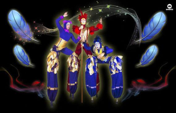 Acro-stilt performers for festivals