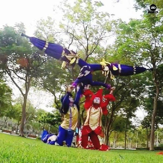 Acro-stilt performers for carnivals