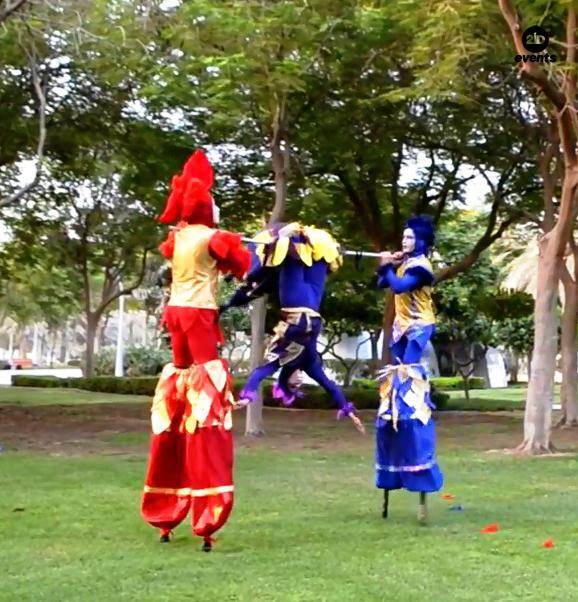 Acro-stilt performers for corporate events