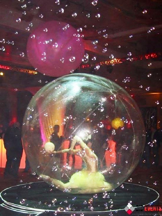 Acrobat in the bubble for kid`s events