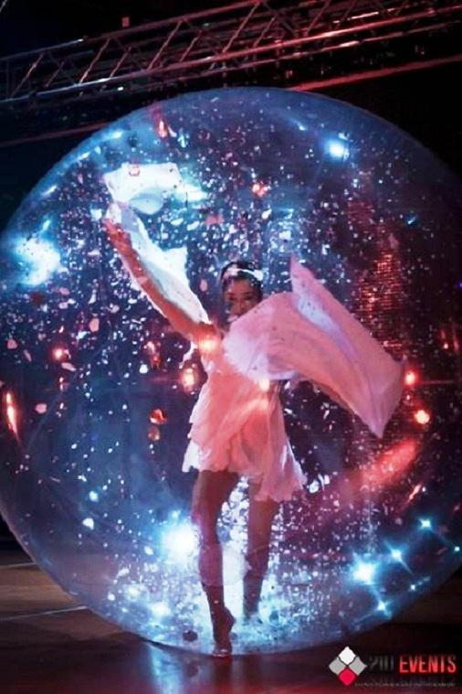 Acrobat in the bubble for public events
