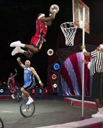 Basketball unicyclist`s team in Dubai