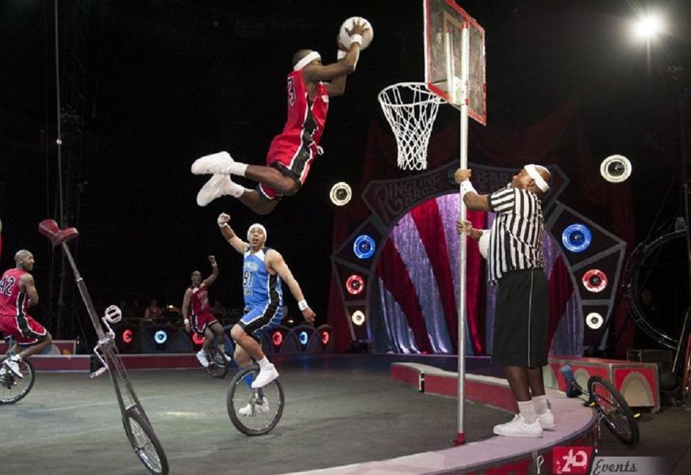 Basketball unicyclist`s team for corporate event