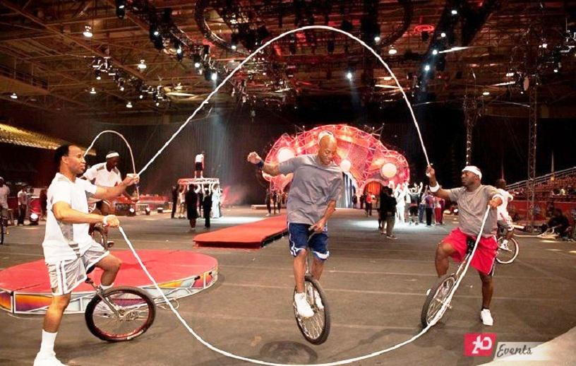 Bicycle jumping rope act for circuses