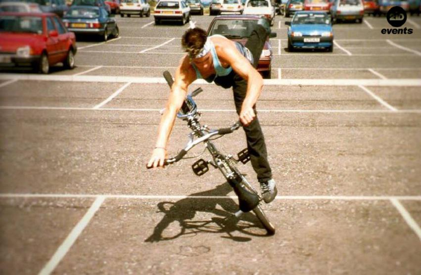 BMX flatland rider for street events