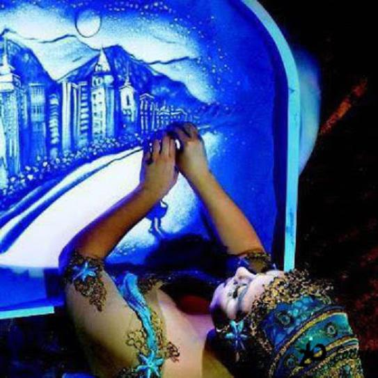 Colorful sand animation for corporate events
