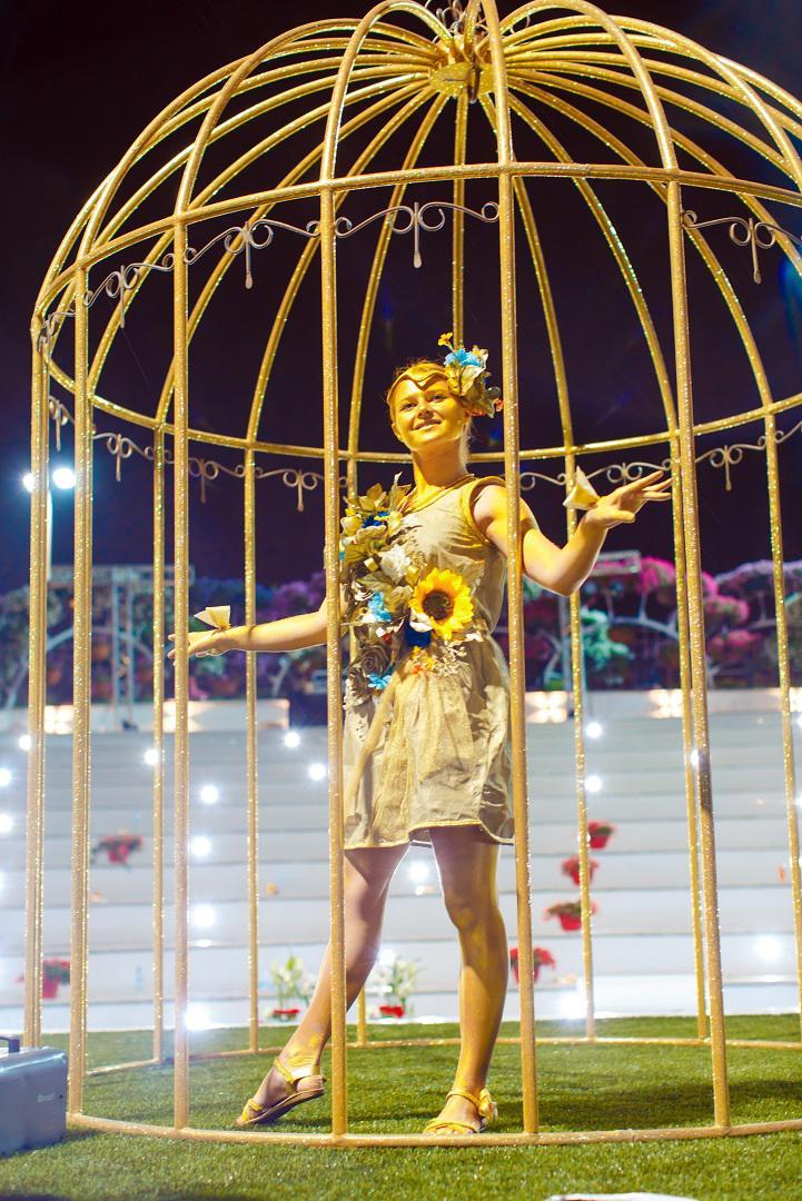 Golden living statue for festivals