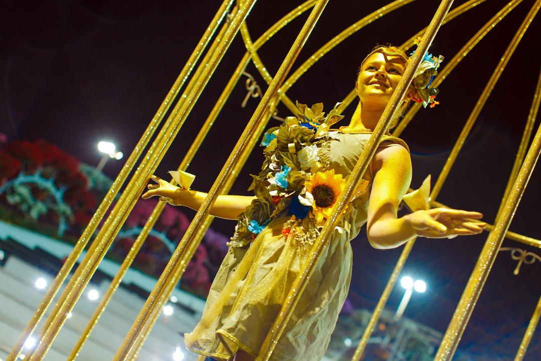 Golden living statue for special occasion