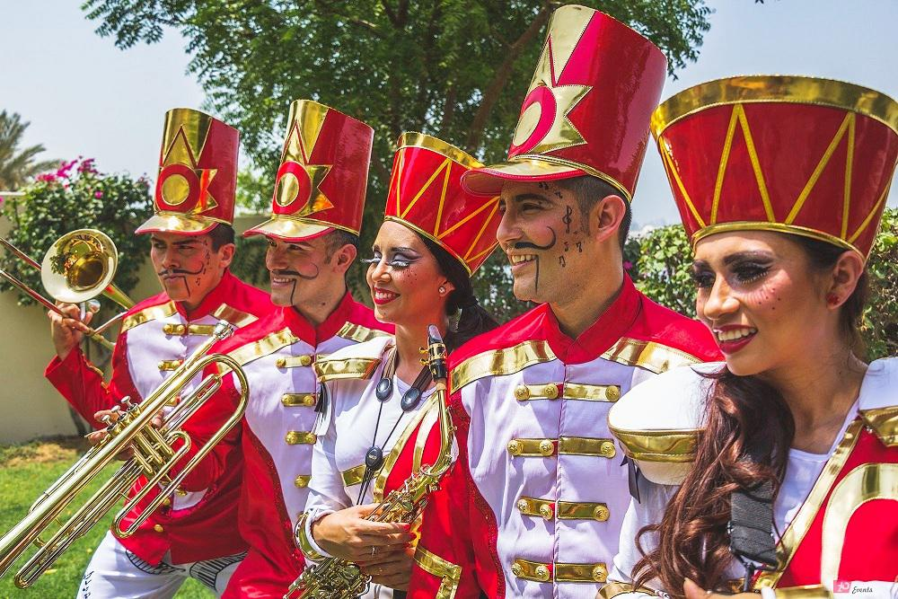 Marching band – stilt walkers parade for public events