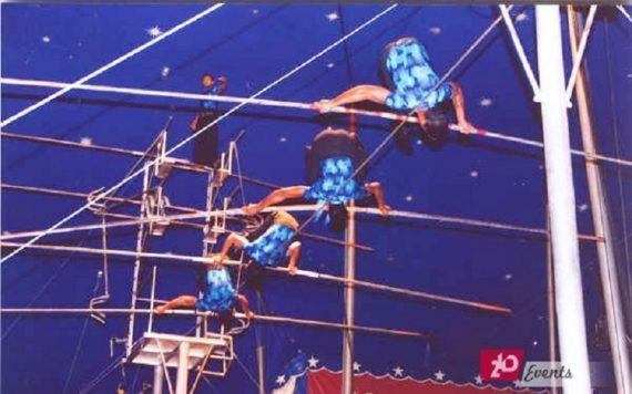Slackline acrobatic act for festival