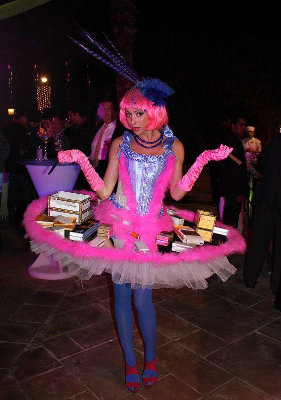 Walking table lady for themed parties