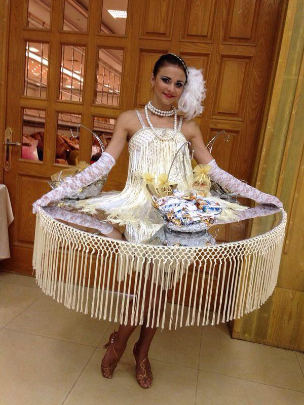 White walking table lady for corporate events
