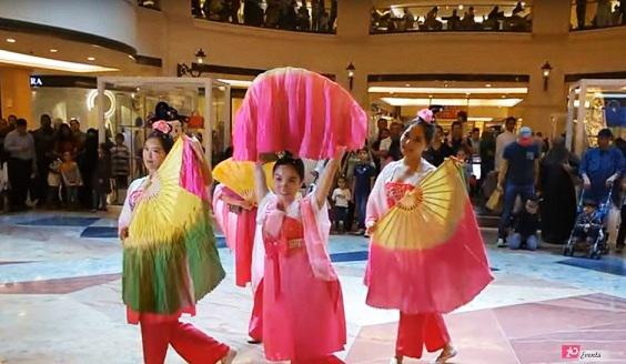 Chinese fan dancers for traditional celebrating