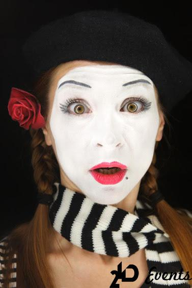 Female mime for corporate events
