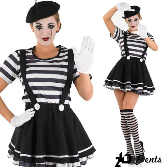 Female mime for themed occasions