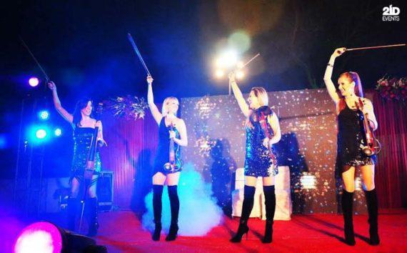 LED string quartet for festivals