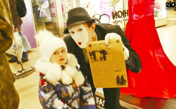 Newspaper photo booth for mall activities