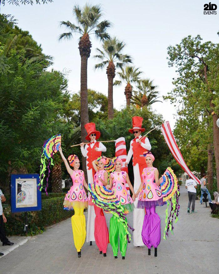 Stilt Walkers Dance Parade for special occasions