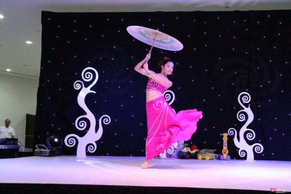 Chinese umbrella dance in Dubai