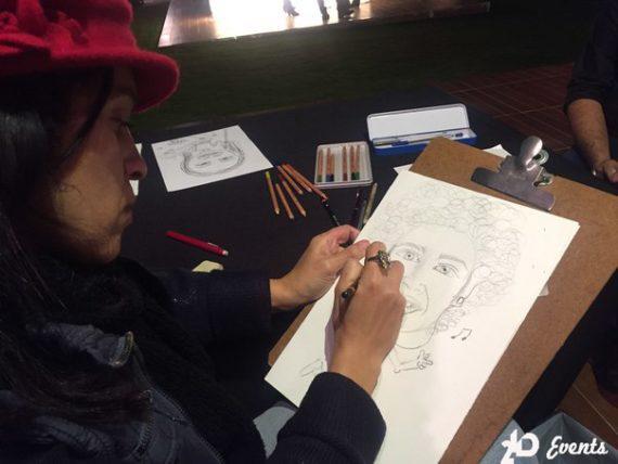 Female caricaturist in Dubai