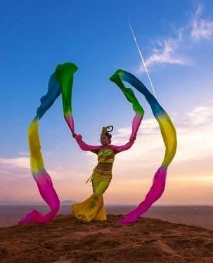 Chinese ribbon dance solo in Dubai