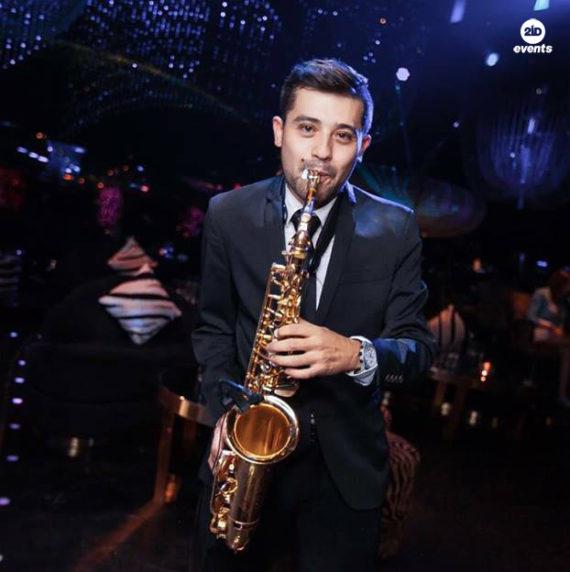 Male sax player in the UAE