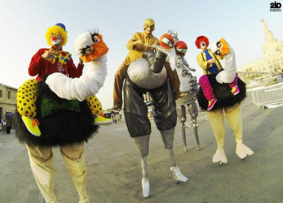 Stilt Walkers Dance Parade in Dubai