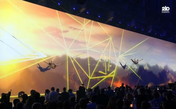 FLYING SHOW WITH VIDEO PROJECTION